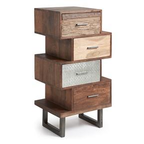 Cassettiere in legno e metallo, comodini in legno