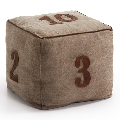 POUF tessuto e pelle beige - numbers